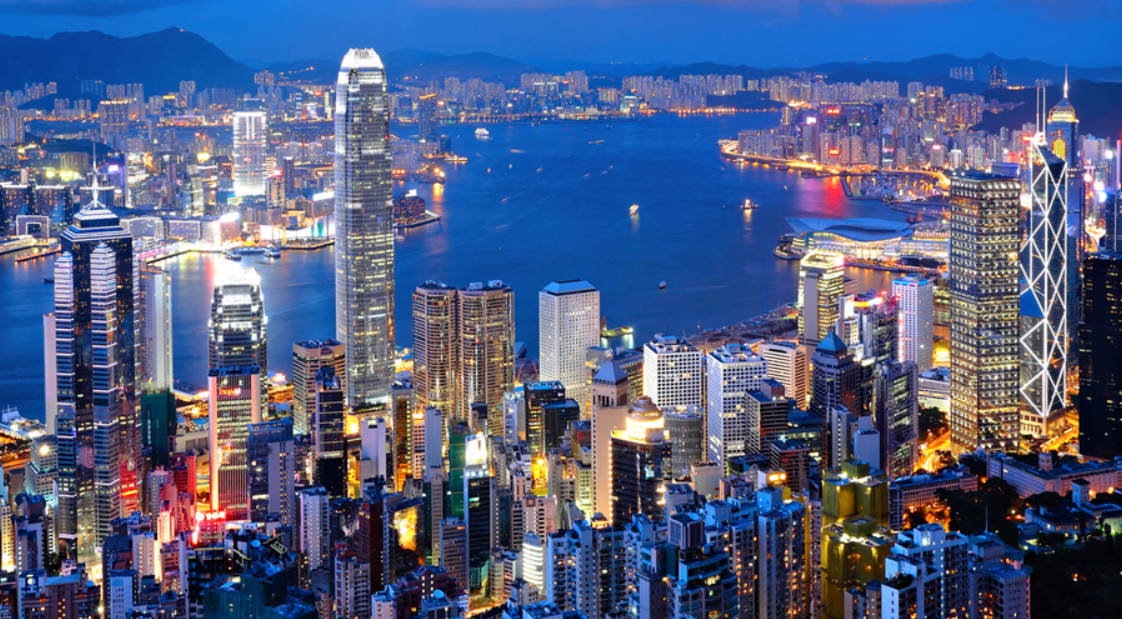 Spectacular Hong Kong view by night where binary option millionaires enjoy life