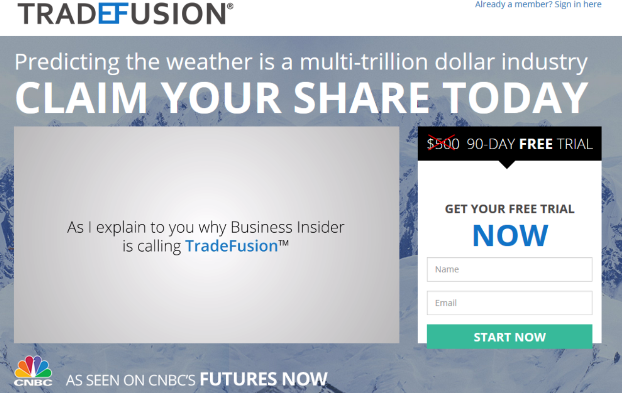 trade fusion main page view