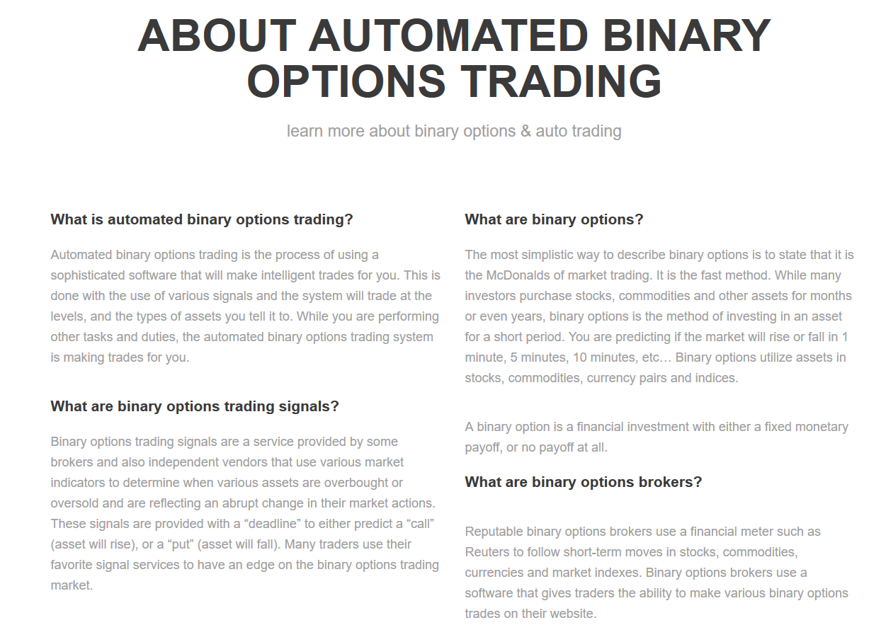 Automated binary options software
