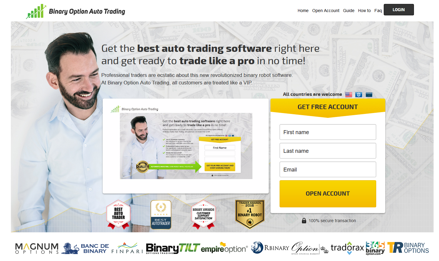 binary option auto trading main page