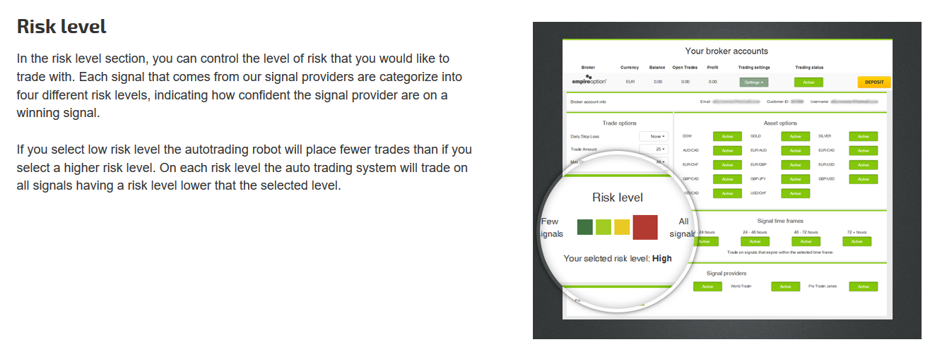 binary option autotrading risk level