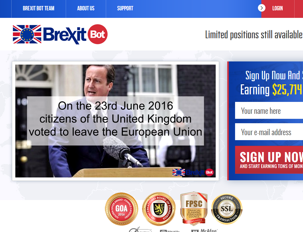 brexit bot main page